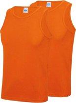 2-Pack Maat S - Sport singlets/hemden oranje voor heren - Hardloopshirts/sportshirts - Sporten/hardlopen/fitness/bodybuilding - Sportkleding top oranje voor mannen