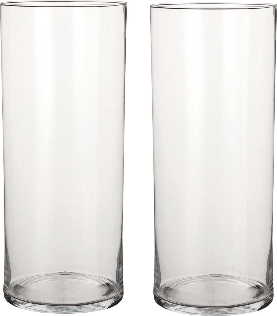 2x Ronde bloemen vaas/vazen van helder glas 48 cm - Voor verse of kunst bloemen en boeketten - Glazen vazen transparant 2 stuks