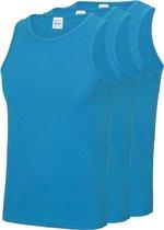 3-Pack Maat XXL - Sport singlets/hemden blauw voor heren - Hardloopshirts/sportshirts - Sporten/hardlopen/fitness/bodybuilding - Sportkleding top blauw voor mannen