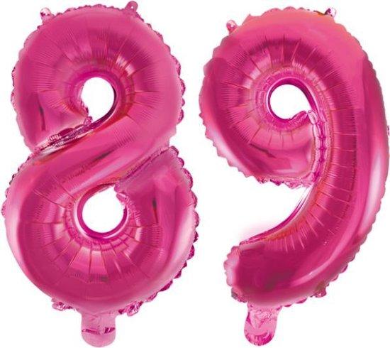 Folieballon 89 jaar roze 41cm