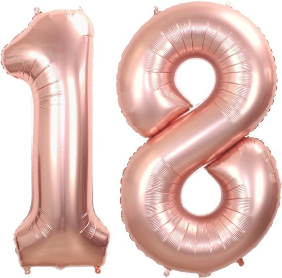 Folie Ballon Cijfer 18 Jaar Rosé Goud 70Cm Verjaardag Folieballon Met Rietje