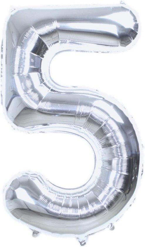 Folie Ballon Cijfer 5 Jaar Zilver 70Cm Verjaardag Folieballon Met Rietje