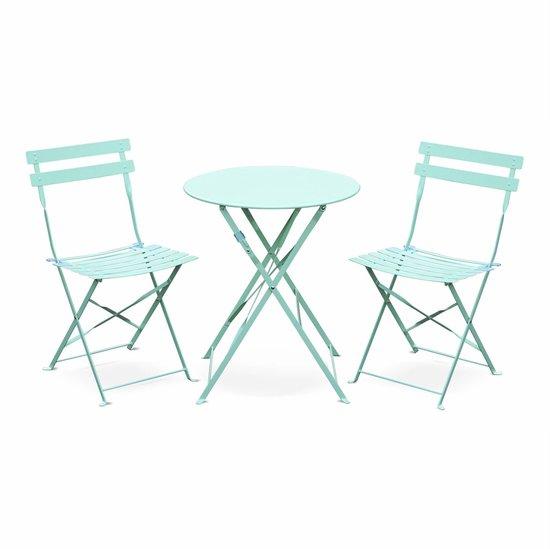 EMILIA bistroset - 2 opklapbare stoelen en een ronde tafel van gepoedercoat staal met matte afwerking
