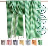 ANATURES Hamamdoek XL HOLIDAY 95x190 cm   Hamam strandlaken, Badlaken, Sauna handdoek, Fouta pareo, Yoga handdoek   Fair Trade – Biologische katoen   Groen