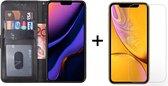 iphone 11 hoesje bookcase zwart apple wallet case portemonnee book case hoesjes hoes cover - 1x iphone 11 screenprotector screen protector