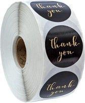 Stickers 'Thank you' bedrijf stickers - zwart - hobby stickers - envelop stickers - stickers - bedankt stickers - trouwerij - bruiloft - goudkleurig - rond - 500 stuks - op rol - bedrijfstickers - hobbystickers
