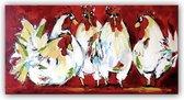 Schilderij - Vrolijke kippen aan de leg