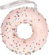 1x Kersthangers figuurtjes lichtroze donut met kraaltjes 10 cm - Lichtroze kerstboomhangers