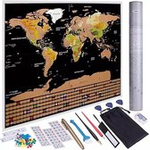 Scratch Map Deluxe Inclusief 46 Accessoires - Luxe Scratchmap Met Alle Vlaggen - Kras Wereldkaart