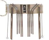 ALHECO metalen rietjes - RVS rietjes zilver - Herbruikbare 13-delige set