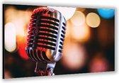 Dibond –Ouderwetse Microfoon– 60x40cm Foto op Aluminium (Met Ophangsysteem)