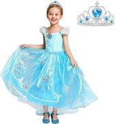 Elsa Frozen jurk Sneeuwvlok Luxe 130 met sleep + GRATIS ketting maat 122-128 Prinsessen jurk verkleedkleding