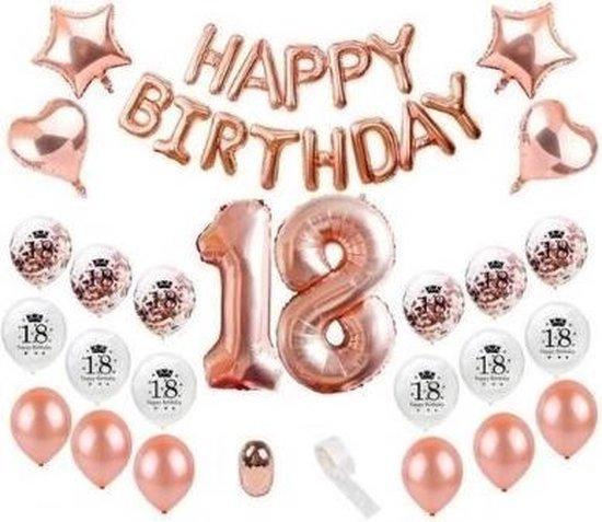 Versiering 18 jaar verjaardag| 27 stuks | Rose Goud |