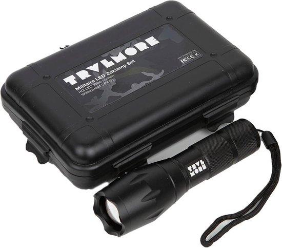 TravelMore Militaire LED Zaklamp Oplaadbaar - IPX-6 Waterresistent - 1000 Lumen - Zwart