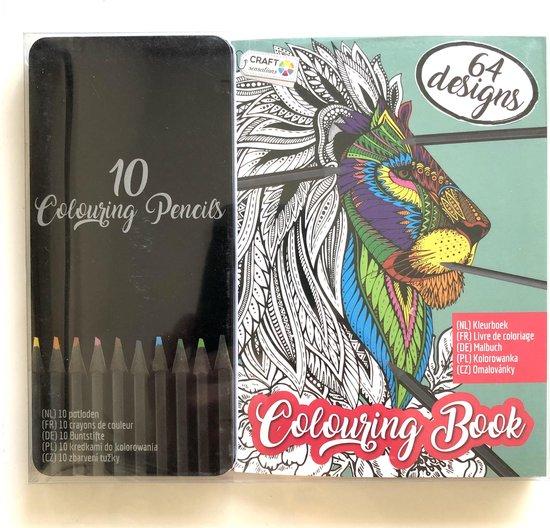 Afbeelding van Mooi kleurboek met 64 kleurbladen inclusief 10 kleurpotloden
