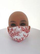 Mondkapje Herbruikbaar Wasbaar katoen elastine Rood met Wit (5 stuks)