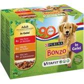 Bonzo Maaltijdzakjes Adult - Diverse Maaltijdzakjes - Hondenvoer -  48 x 100 g