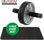 Improv Fitness Wheel incl Knie Mat - Buikspier wiel - Gewichten - Fitness - Sporten - Buikspier - Fitness Mat - Ab Wheel - Roller - trainingswiel - fitness roller