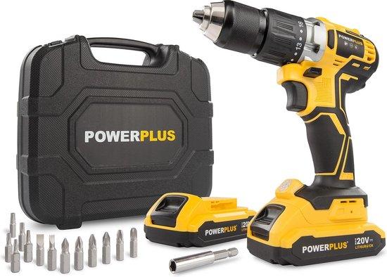 Powerplus POWX00510 Accuboormachine - 20V Li-ion - incl. 2 accu's - Incl. 13 delige gereedschapskoffer