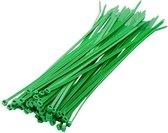 100x stuks kabelbinder / kabelbinders nylon groen 10 x 0,25 cm - bundelbanden - tiewraps / tie ribs / tie rips