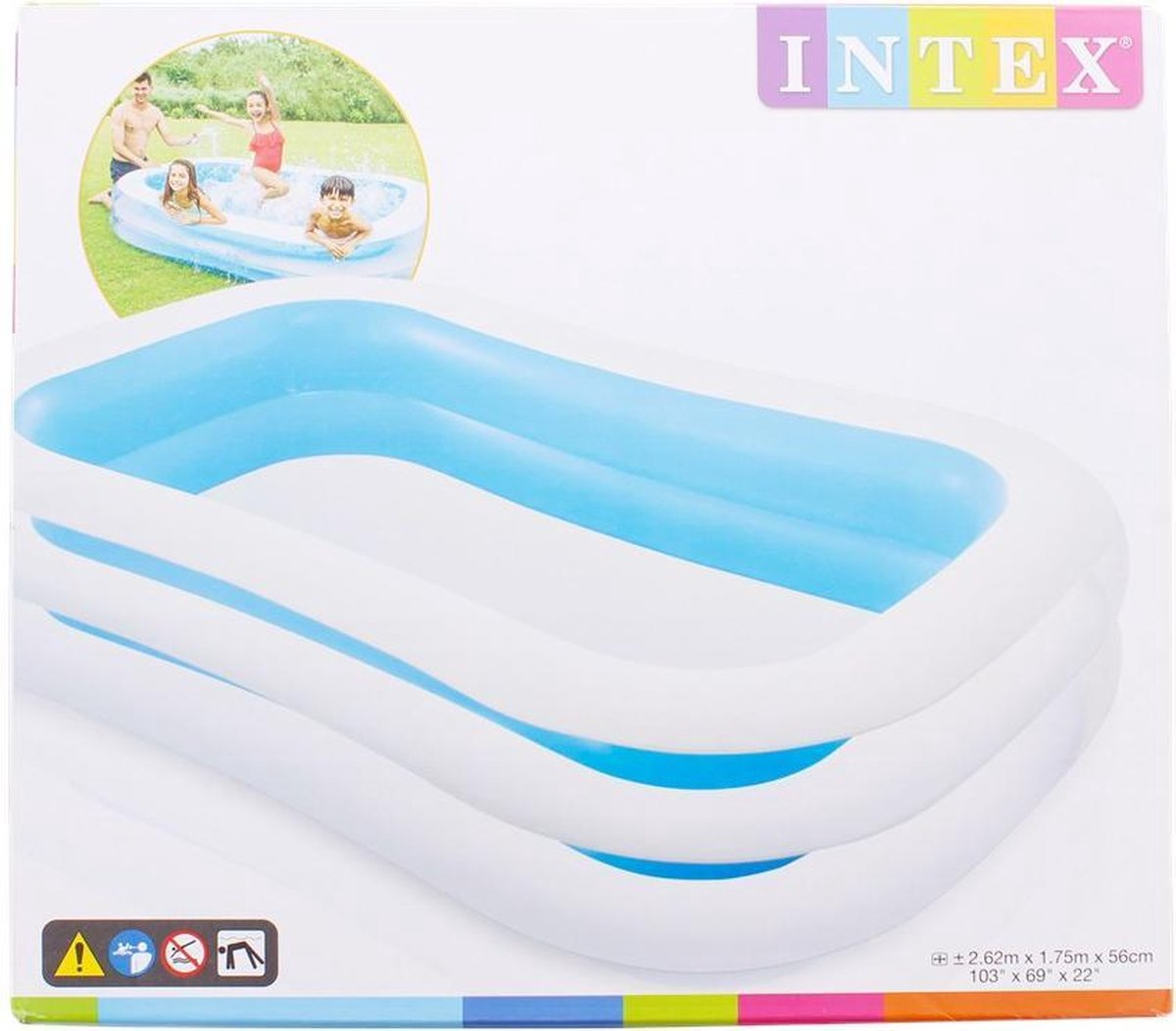 INTEX zwembad 262 x 175 x 56 cm- Intex - Opblaasbare zwembad - zwembad- opblaasbare zwembad - zwembaden - opzetzwembaden - opblaaszwembad - groen - blauw