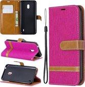 Kleuraanpassing Denim Texture Horizontale Flip Leather Case met houder & kaartsleuven & portemonnee & lanyard voor Nokia 2.2 (rood)