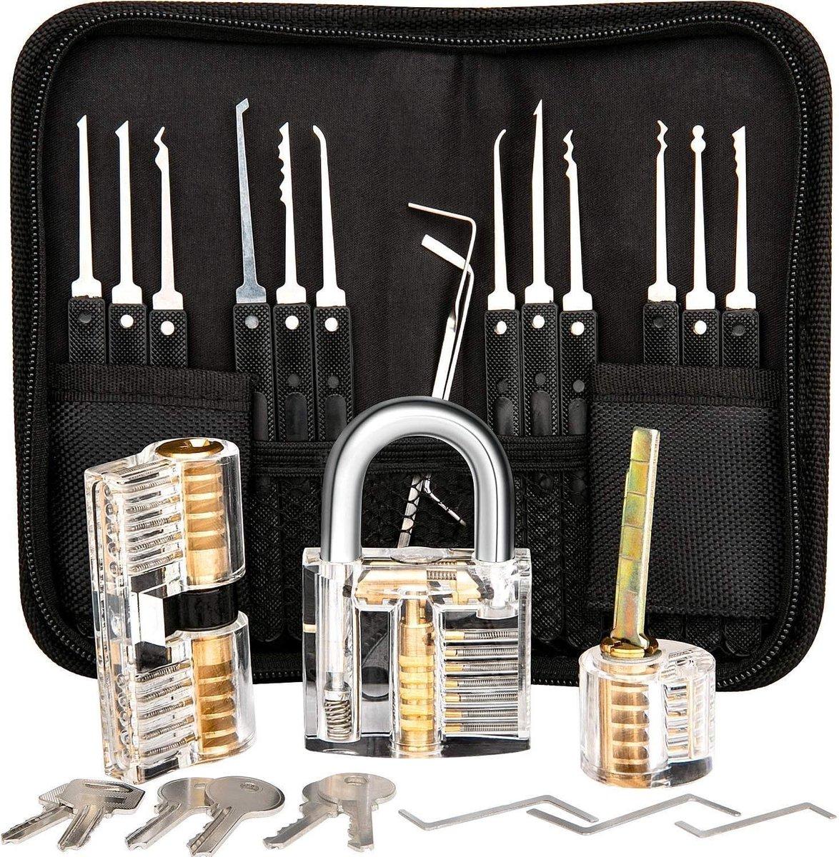 Uitgebreide Lockpick Set met 3 sloten - Lockpicking - Lock pick gereedschap tools - Lockpicken voor