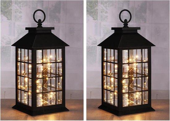 Bol Com 2x Zwarte Decoratie Lantaarns Met Led Lampjes 31 Cm Woondecoratie Lantaarn Zwart