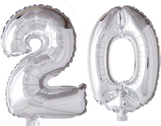 Folieballon 20 jaar zilver 86cm