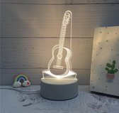 Nachtlampje voor kind of volwassen - GITAAR. 3d illusie nachtlamp 1-kleurig