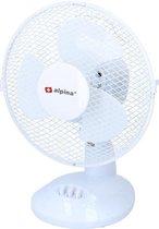 Voordelige tafel of bureau ventilator wit 23 cm - Witte kantoor/bureau ventilatoren