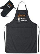 Mijncadeautje - BBQ-schort - Grill Master BBQ - met naam - zwart - XXL 97 x 68 cm - gratis BBQ- handschoen