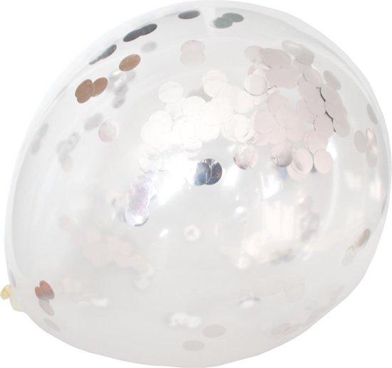 20 Zilver Confetti Ballonnen (30cm) - 3 gram confetti