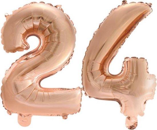 Folieballon nr. 24 Rosé Goud 41cm