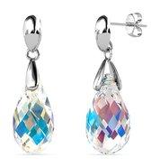 Yolora dames oorbellen met Swarovski kristal - 18K Witgoud vergulde oorhangers - 925 sterling zilver - YO-E115-WG-AB