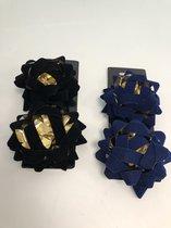 Cadeau versiering strikken, blauw/ zwart ( 4 stuks)