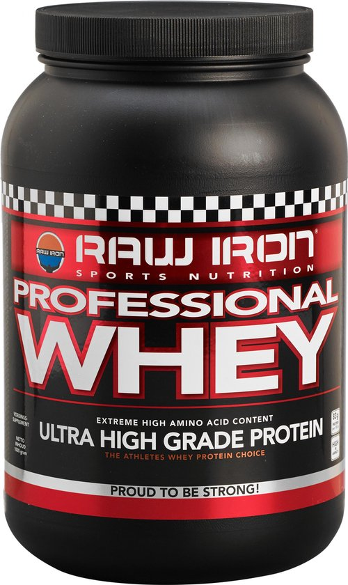 RAW IRON Professional Whey eiwit -1000 gram- aardbei eiwitshake