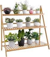 Plantentrap van bamboe hout - Plantenrek voor binnen - Plantenstandaard voor planten, bloemen - Ook als bloemenrek / plantenetagère - Decopatent®