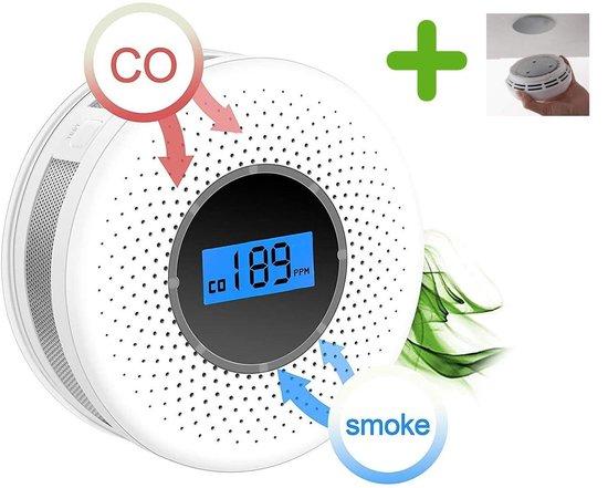 Rookmelder en Koolmonoxidemelder - Combinatiemelder - Brandmelder + Gratis magnetische montage