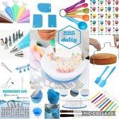 Meest Luxe complete taartset XL: 225 delig blauw  taart - taart set - bakset - cake - decoratie set - decoreren - plateau - taartstandaard