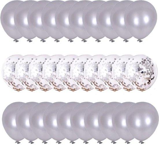 Sens Design Ballonnen – Feest versiering verjaardag – 30 stuks – Zilver