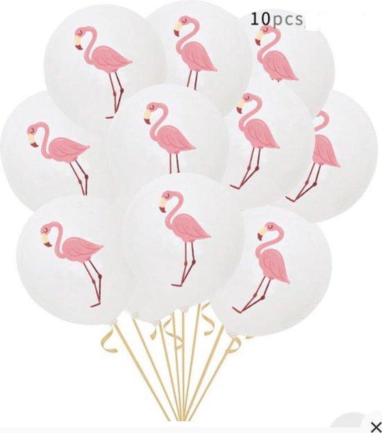 Ballonnen Wit met Rose - Roze Flamingo | 10 stuks | Baby Shower - Kraamfeest - Verjaardag - Geboorte - Fotoshoot - Wedding - Marriage - Birthday - Party - Feest - Huwelijk - Jubileum - Event - Feestje - Kinderverjaardag  - Leuk aan traktatie