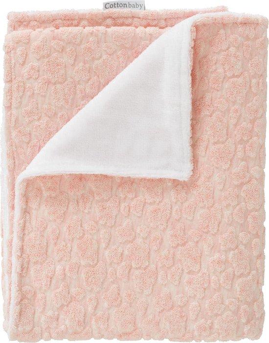 Cottonbaby wiegdeken pantervlek 3D met teddy roze 75x90