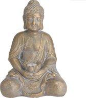 1x Boeddha tuinbeeld goud met solar verlichting op zonne-energie 44 cm - Tuindecoratie/accessoires - Tuinbeelden met licht