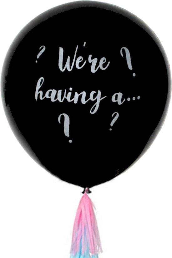 Gender Reveal Versiering 90 Cm Ballon Babyshower Feest Incl Confetti & Tassel