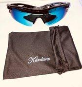 Kardano - Snelle Planga - Zonnebril - Vlotte Fietsbril - Zwart met blauwe groene lens