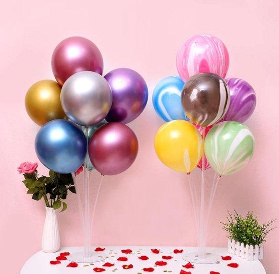 1 stuks Ballonnenstandaard voor max 7 ballonnen- Inclusief 7 Gekleurde Ballonnen- Met gratis ballonnenpomp