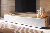 Maison's Tv meubel – Tv Kast meubel – Tv meubel – Tv Meubels – Tv meubels Wotan Oak – Eiken bruin – Bruin – Wit – Kane – Led verlichting – 180x30x33
