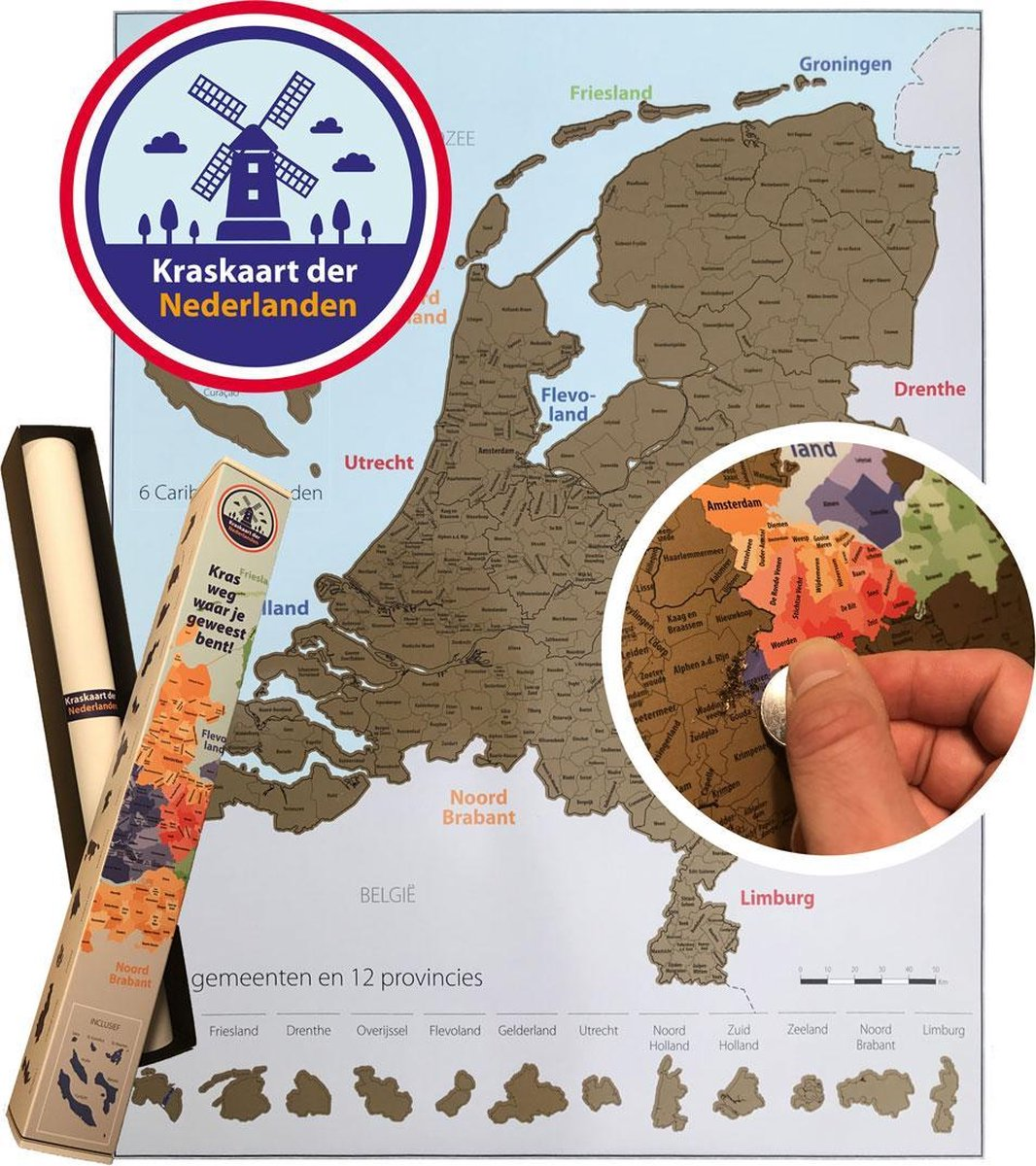 Kraskaart der Nederlanden - 56x44 cm - Kras weg waar in Nederland jij bent geweest - Scratchmap Nede
