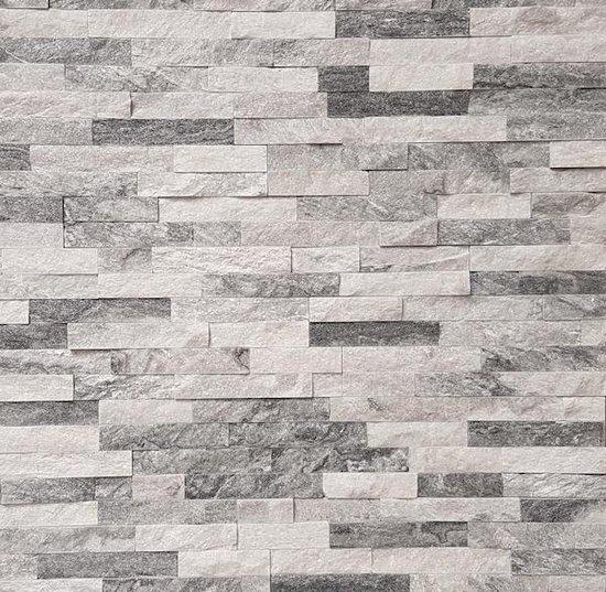 Linea Uno - Steenstrip Kiruna - Grijs / Wit met glinstering- Echt natuursteen - Muurbekleding - Sierstrips - 512011